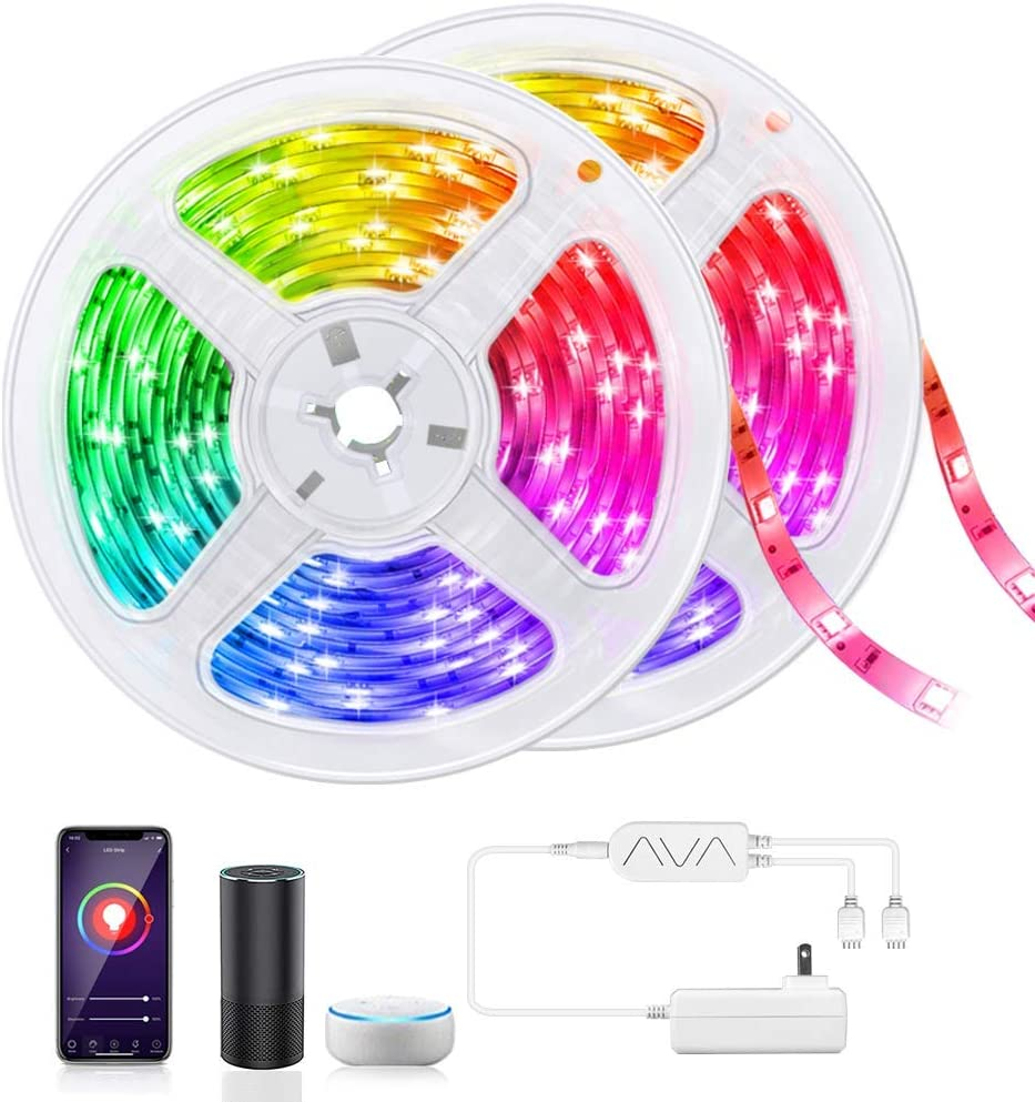 LED Strip Light 32.8 FT, Smart WiF Light Strip Work with Alexa Google Assistant, Music Sync TV Backlight Tape Gaming Light 16 Million Color RGB Rope Light for Bedroom Home Bar Party Christmas
