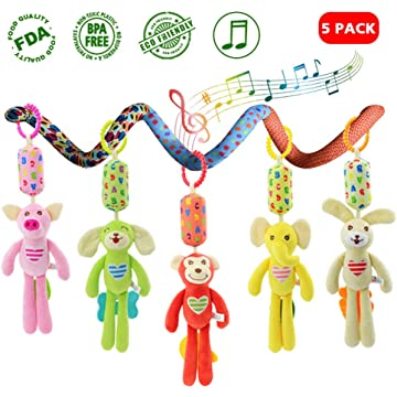 Greenoble Baby Hanging Stroller Toys, 5 Pcs Rattle Toys Toddler Car Seat Hanging Plush Animal Recognize Educational Newborn Infant Toys Wind Chime Toy with Soft Teethers