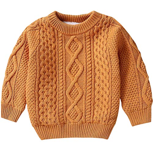 BINPAW Kids Long Sleeve Crew Neck Chunky Twist Warm Fleece Lined Knit Pullover Sweater for Toddler Baby, Little & Big Boys, Camel 3-4 Years = Tag 110