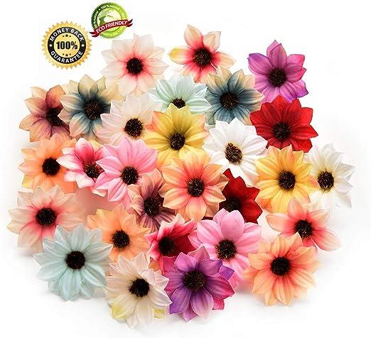 100Pc 5cm Daisy Artificial Fake Flower Silk Flower head Heads Bulk Wedding Decor
