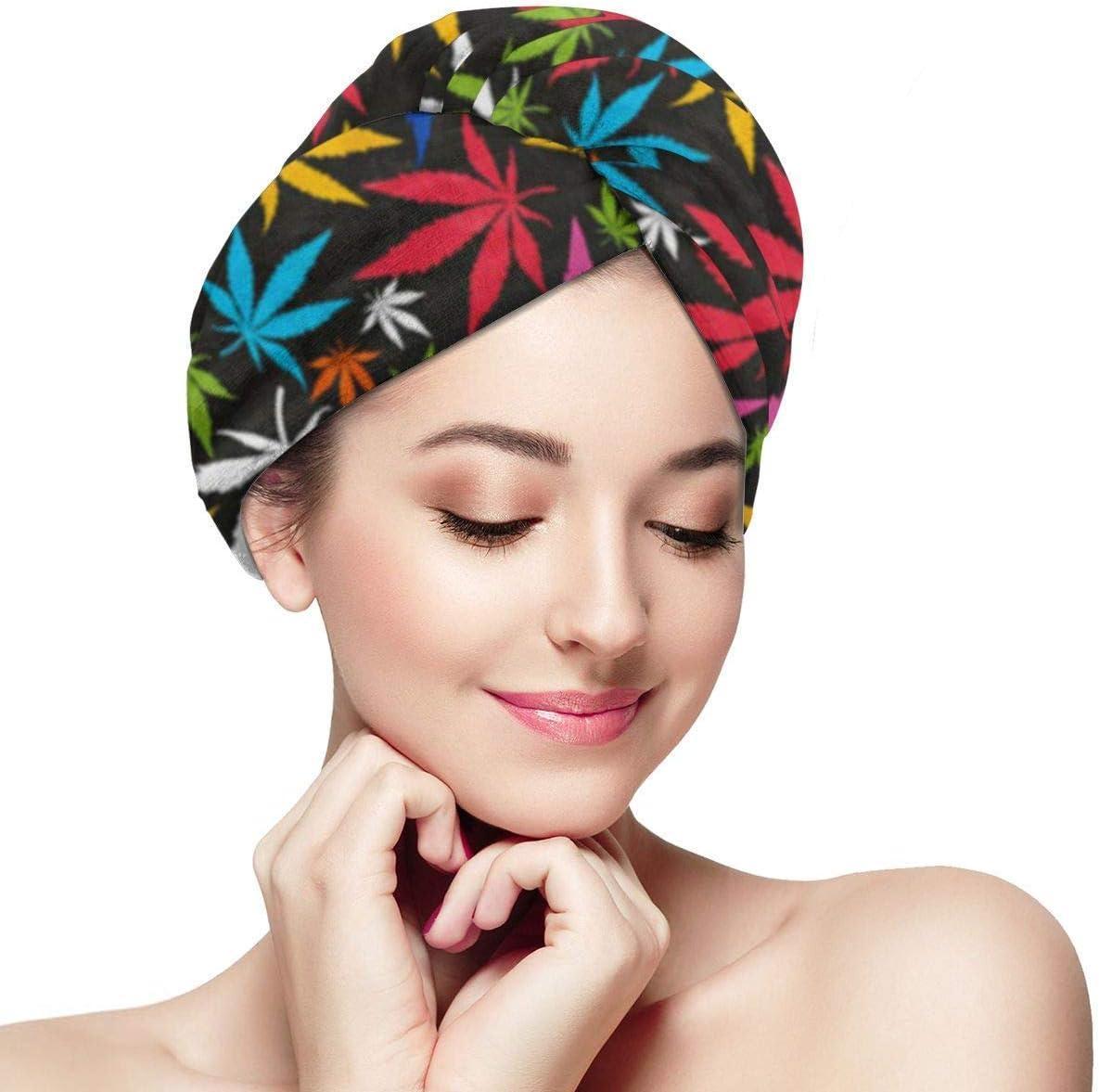 microfibra de contorno muy grande y detallado Para mujeres, gorro de pelo de secado rápido con botón - Adicción Coloridas hojas de cannabis en otoño Cuidado con la droga Droga Floral