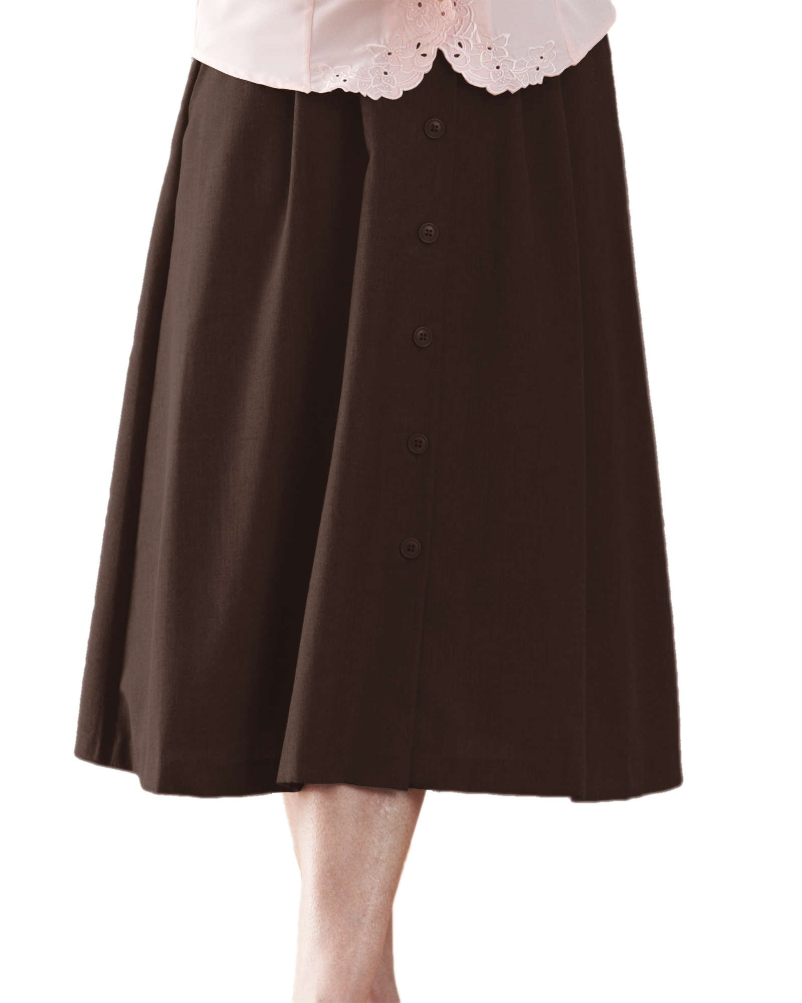 Swann Button Front Pleated Skirt, Brown, 18P