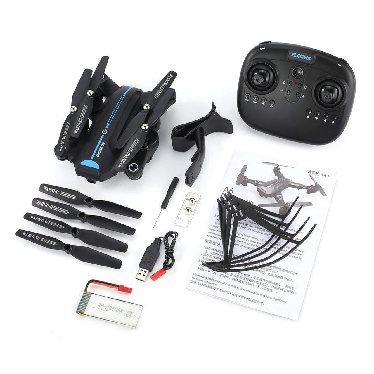 Jasnyfall A6W RC Drone Wi-Fi FPV 720P Weitwinkel-HD-Kamera Altitude Hold RTF Quadcopter schwarz