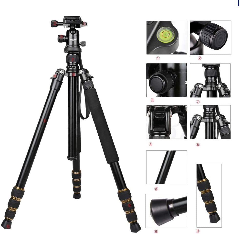 Powerfulline ZOMEI Q666 Portable Tripod Ball Head Travel Pan Tilt Accessory for DSLR Camera