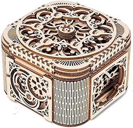 3D Madera Tesoro Kit Caja Mecánico Modelo Montado Juguete Joya ...