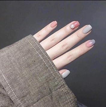 KICNEX Uñas Postizas De Cubierta Completa 24Pcs / Set Color Rosa ...