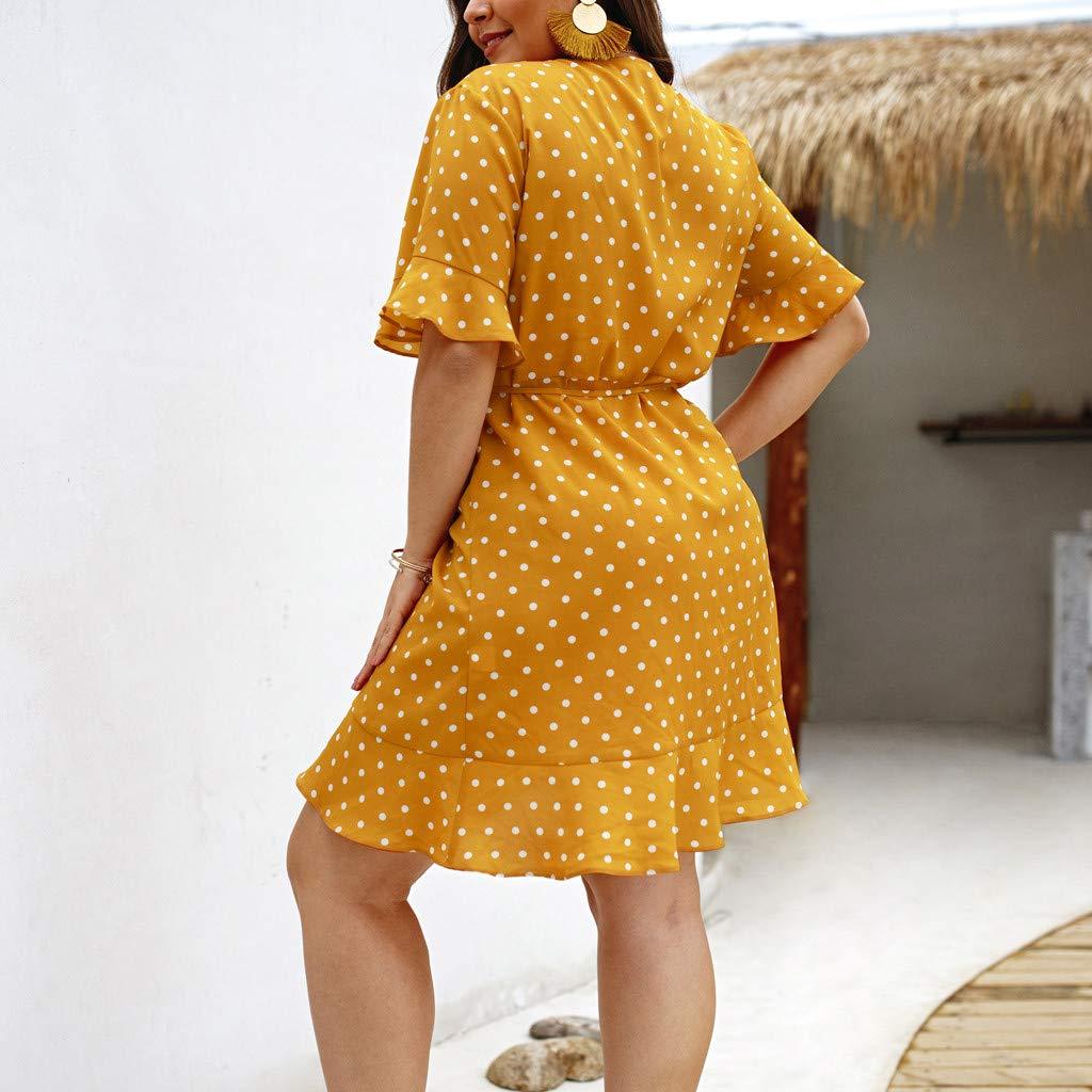 LUCA Women V-Neck Polka Dot Wrap Mini Dress Short Sleeve Casual Summer Holiday Dress
