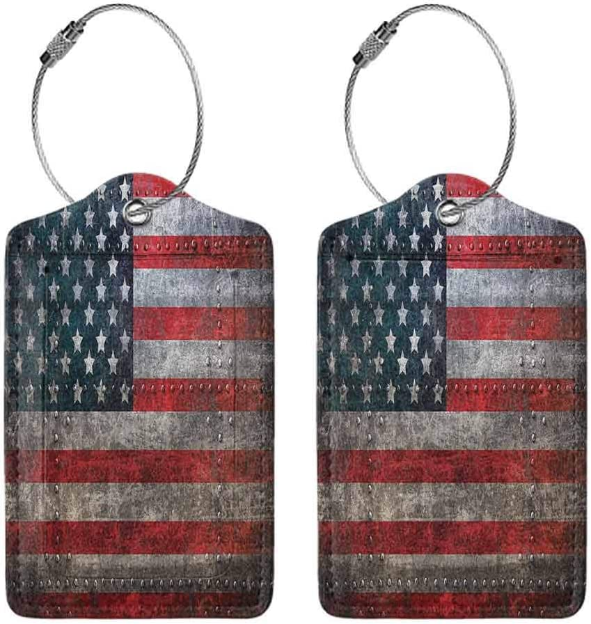 1,2 /& 4 Pack Luggage Suitcase Tag Printed Luggage Tag Full Back Privacy Cover 4th of July Bald Eagle Portrait
