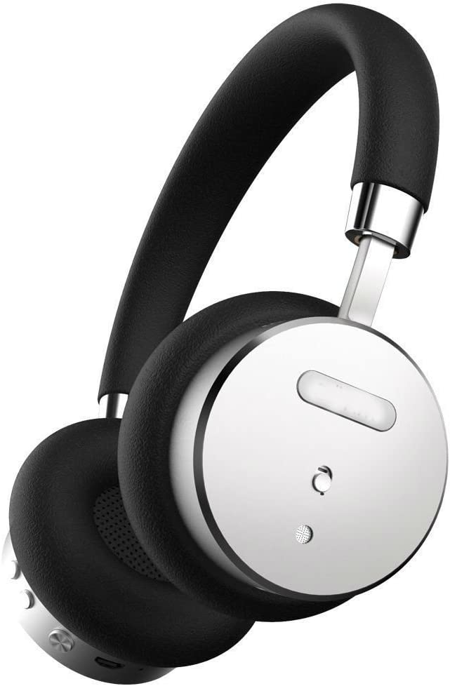 Black/Silver Bluetooth Wireless Noise-Canceling On-Ear Headphones with Mic Bohm