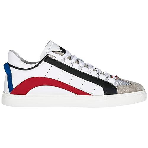 8b799f53a Dsquared2 Sneaker Uomo Barney Pelle Bianca (40): Amazon.it: Scarpe e ...