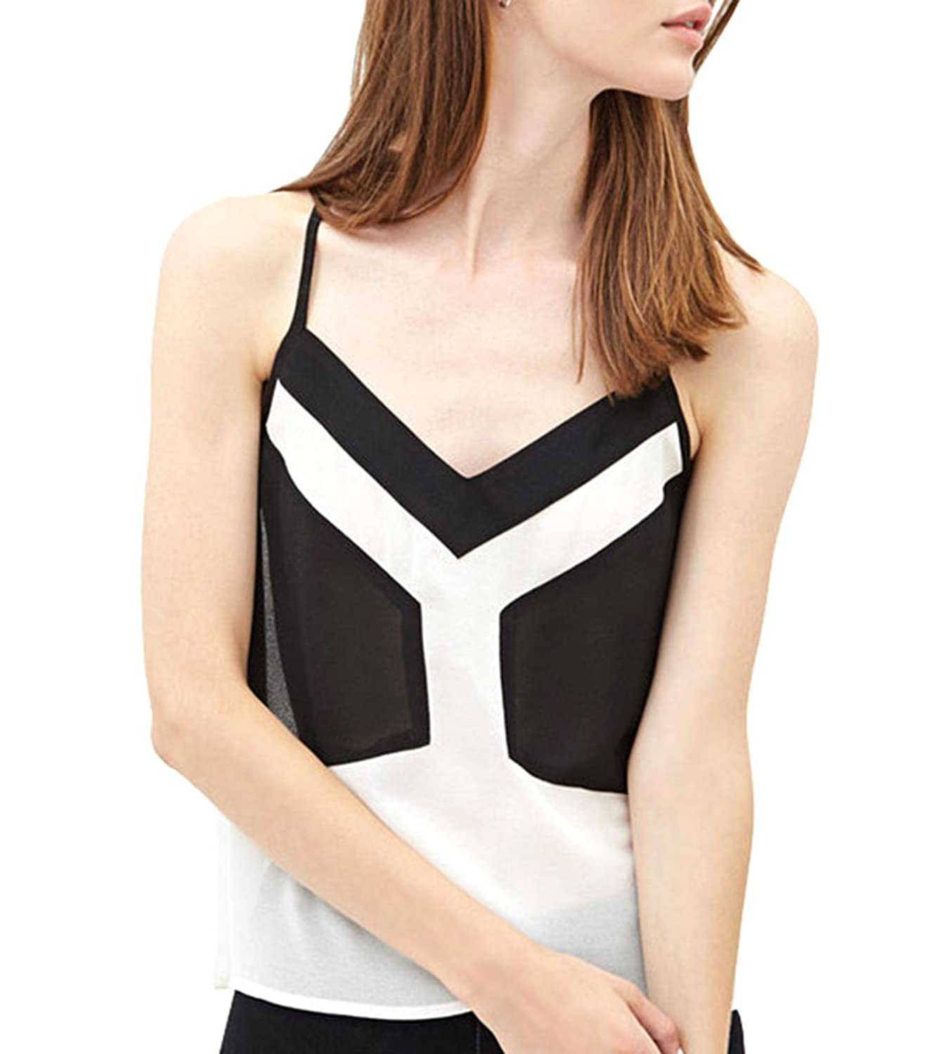 Popuus Women's Casual Slim Fit Pullover Cotton Camisole Tank Top White