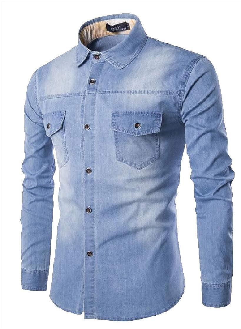 UNINUKOO Unko Mens Long Sleeve Button Down Dress Shirts Denim Shirt
