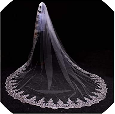 1T Sequins Cathedral Wedding Bridal Veil With Comb Lace Edge Accessories New