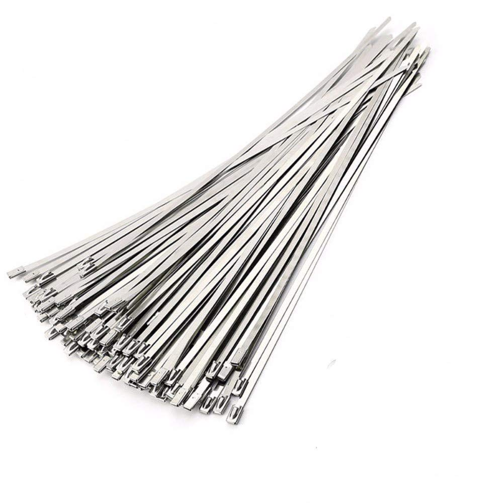 Stainless Steel Cable Ties KangTeer 100pcs 11.8 Inches/4.6x300mm Exhaust Pipe Wrap Coated Locking Cable Zip Ties