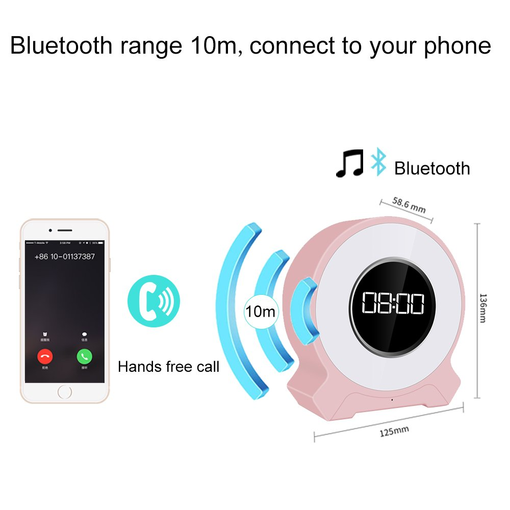 JIAXIN Alarm Clock Light Bluetooth Speaker Rechargeable,Smart Touch Sensor Lamp 7 Color Changing,Bedside Table Lamp for Bedroom and outdoor Warm Light,FM Radio,Best Gift for Party,Hiking,Camping-Pink