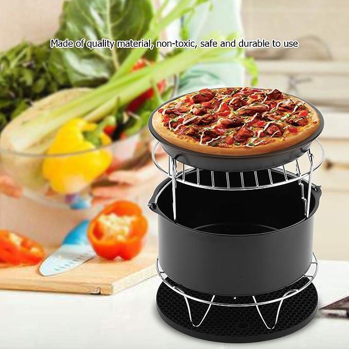 Zerodis - Juego de 5 Accesorios para freidora de Aire para Pizza o Tarta, Soporte de Metal con Clip de Alimentos de 7 Pulgadas de diámetro: Amazon.es