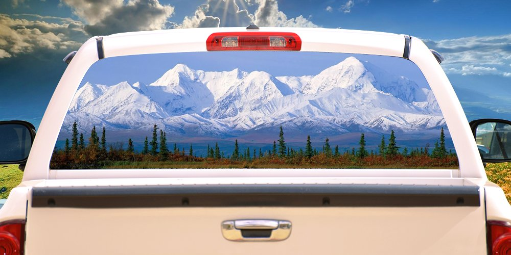 SignMission MOUNTAINRear Window Graphic Back Truck Decal SUV View Thru Vinyl, 18'' X 58'', Mountain by SignMission