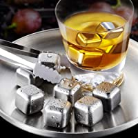 Reusable Stainless Steel ice cube, Set of 8 pieces Whiskey Cubes together with Silicone Head Tongs and Ice Cube Trays, Ideal gift box for Men and Woman, Husband Birthday, Dad and Boyfriend.