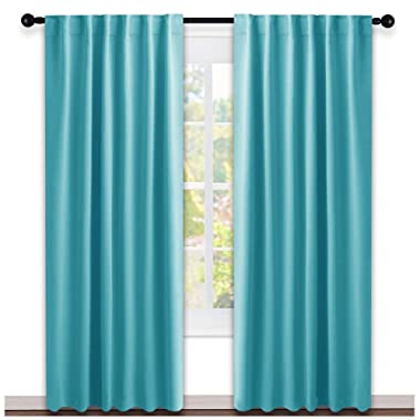 NICETOWN Window Treatment Solid Blackout Curtains - (Turquoise=Light Blue Color) 52x84 Inch, 2 Panels, Blackout Drapery Panels for Kids Bedroom