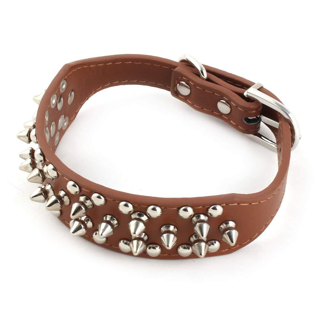 Pet Dog Rivet Detailing Adjustable Neck Belt Collar Strap Girth 30-37cm Brown