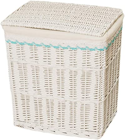 Canasta de Mimbre Cubierta Cesta Caja de Almacenamiento Ropa de Mimbre Sucia Baño en casa Dormitorio Blanco 2 Tamaño XMJ (Size : 44 * 32 * 48cm): Amazon.es: Hogar