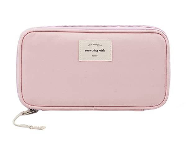 iSuperb Large Capacity Waterproof Oxford Pencil Case Stationery Pencil Pouch Bag Case Cosmetic Makeup Bag Passport Organizer Bag 8.5x4.5inch (Color: Pink)