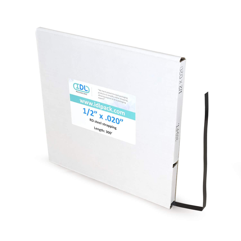 IDL Packaging 1/2'' x .020'' x 300' Mini Steel Strapping Coil, 1100 lbs. Break Strength, Black