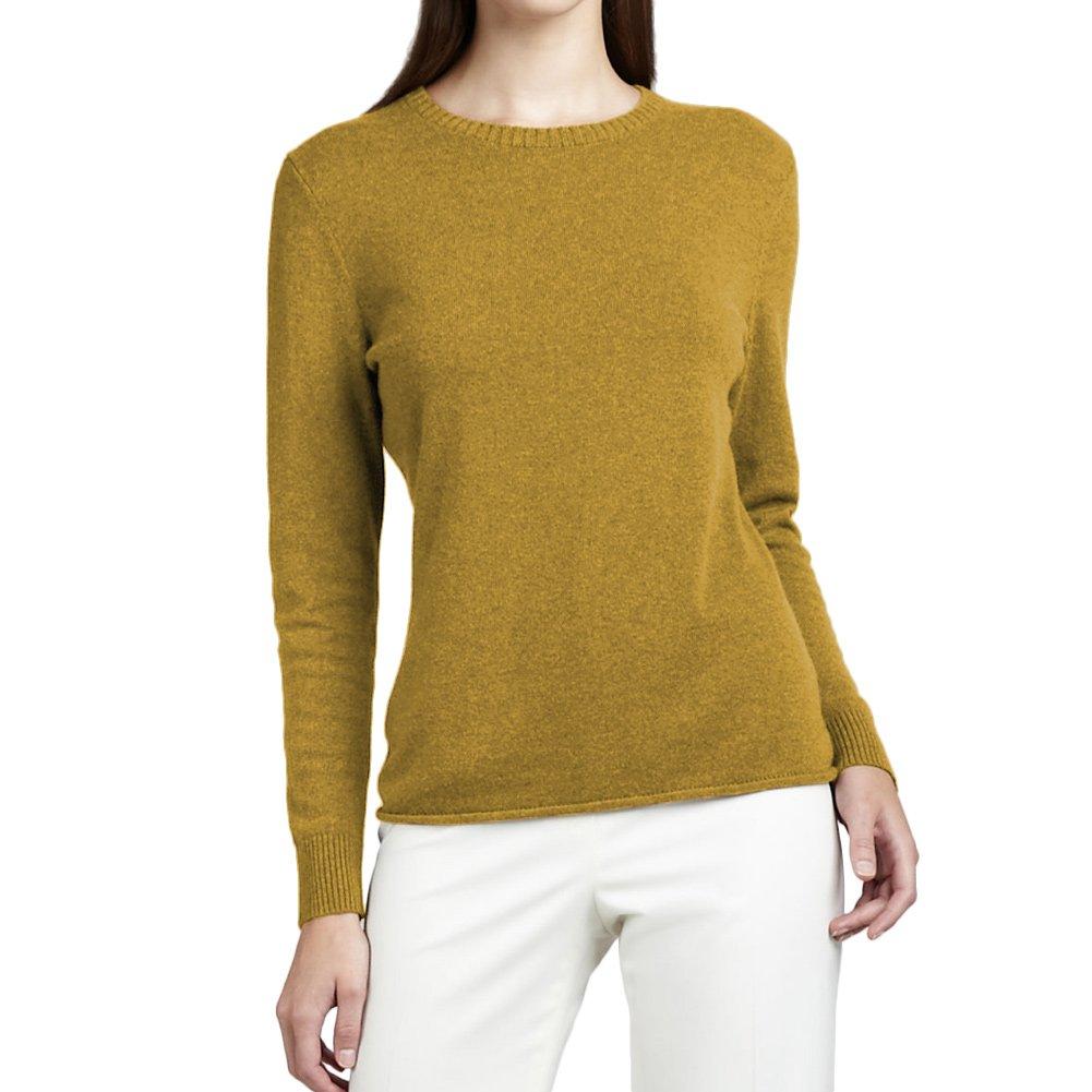 Parisbonbon Women's 100% Cashmere Crew Neck Sweater Color Goldenrod Size M