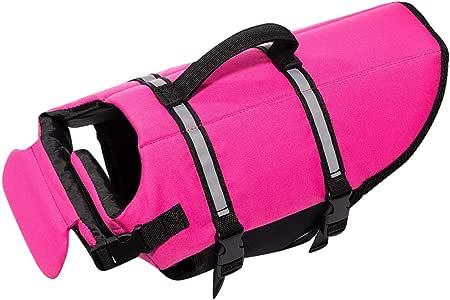 Hollypet Dog Life Jacket Adjustable Dog Lifesaver Reflective Vest Pet Life Preserver with Rescue Handle Pink