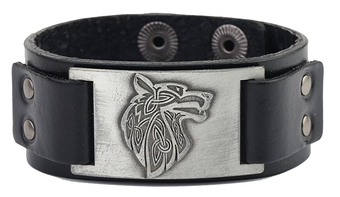 Lemegeton Pagan Celtic Knot Wolf Fenrir Crafts Connector Leather Cuff Bracelet Men Jewelry BiChuang BC-B109513