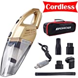 EFORCAR Car Vacuum Cleaner, Cordless Wet/Dry Vacuum Cleaner with 2200mAH Rechargeable Battery (Non Removable & Pre-installed),Carry Bag, 3KPA Powerful Suction Hand-held Vacuum Cleaner (12V 100W Gold)