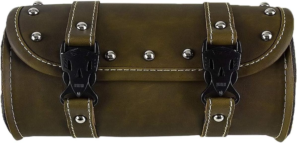 REBACKER Universal Motorcycle Handlebar Tool Front Fork Roll Storage Sissy Bar Barrel Bag PU Leather Brown
