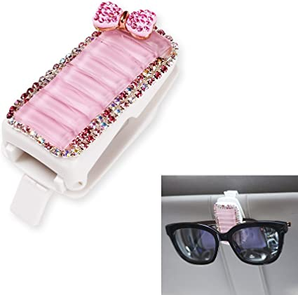 Bling Car Accessories Interior Decoration for Girls Women Pink Crystal Bow