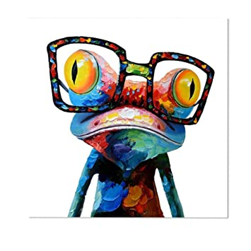 Wunderbar Decalmile Ölgemälde Gedruckt Auf Leinwand Cartoon Frosch Tier Mit Brille  Modern Malerei Wandkunst Für Wohnzimmer Schlafzimmer