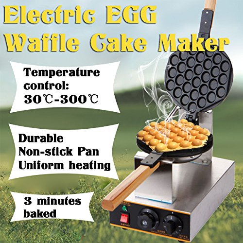 VEVOR Electric Egg Puffle Waffle Maker 1400W 110V Nonstick Eggettes Maker Making Machine HK Style Stainless Steel Electric Puff Egg QQ Muffin Cake Bread Belgian Bubble Waffle Maker (110V) by VEVOR (Image #4)