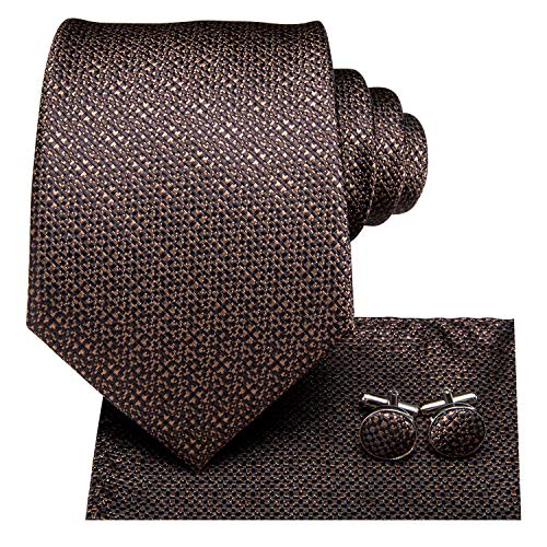 Dubulle Mens Brown Ties and Pocket Square Silk Necktie with Hankerchief