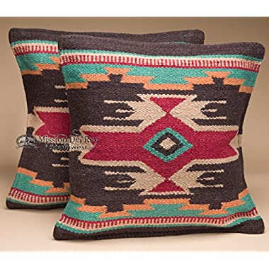 Southwestern Wool Throw Pillow Covers 18x18 - (PAIR) 2 Hand Woven Western Pattern for Native American Style and Rustic Cabin Decor (Eldorado)