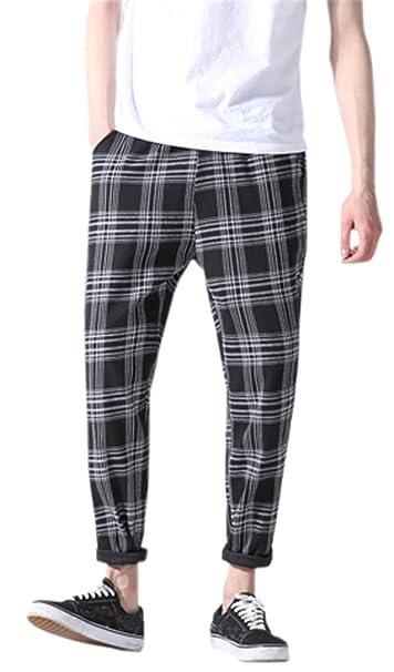 Qzh.Duao Men's Plaid Pants by Qzh.Duao