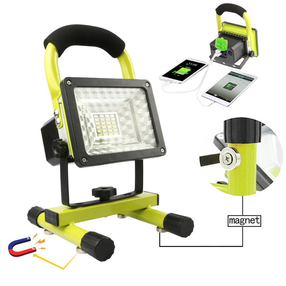 Rechargeable Work Lights with Magnetic Base - 15W 24LED Waterproof Outdoor Camping Lights, Built-in Lithium Batteries, 2 USB Ports to Charge Mobile Devices, Emergency Flashing Modes (Green) by Vanker (Image #1)