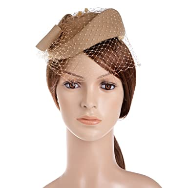 467f914b026 Vbiger Women s Fascinator Wool Felt Pillbox Hat Cocktail Party Wedding Bow  Veil (Camel)