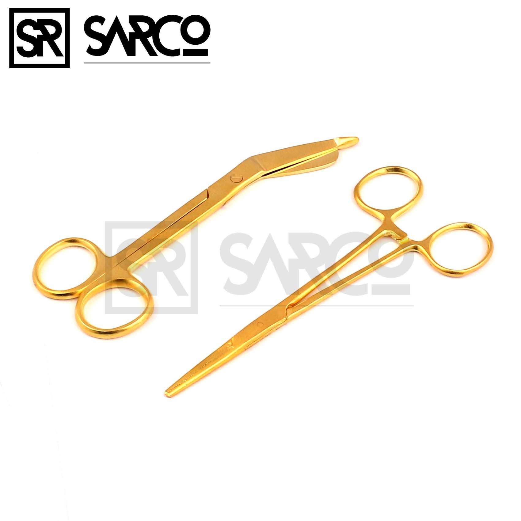 SARCO NEW PREMIUM LISTER BANDAGE SCISSORS 5.5'' + HEMOSTAT FORCEPS STRAIGHT GOLD COLOR STAINLESS STEEL ( SET OF 2 )