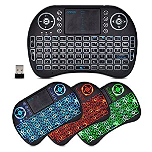 CHONCHOW Wireless Led Backlit Mini Rechargeable Keyboard with Mouse Touchpad Portable Combo Multimedia Key 3 Color