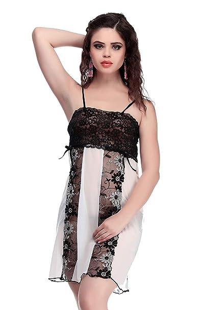 9fd7f91484 Miss Pixy Women s Floral Black Nighty Poly Satin Night Wear Dress  Amazon.ca   Clothing   Accessories