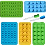SISIRI Gummy Bear Moulds, Silicone Ice Cube Tray Molds Including Hearts, Stars, Shells & Bears with 2 Bonus Droppers 100% FDA Approved for Sweets, Jelly, Soap, Chocolate Making and Kids Party