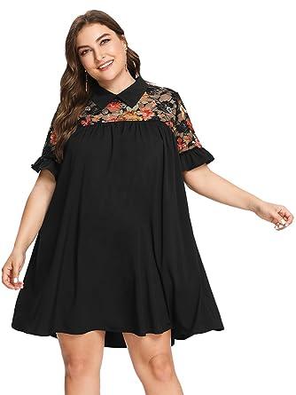 Romwe Women\'s Plus Size Floral Lace Short Sleeve Ruffle Summer Beach ...