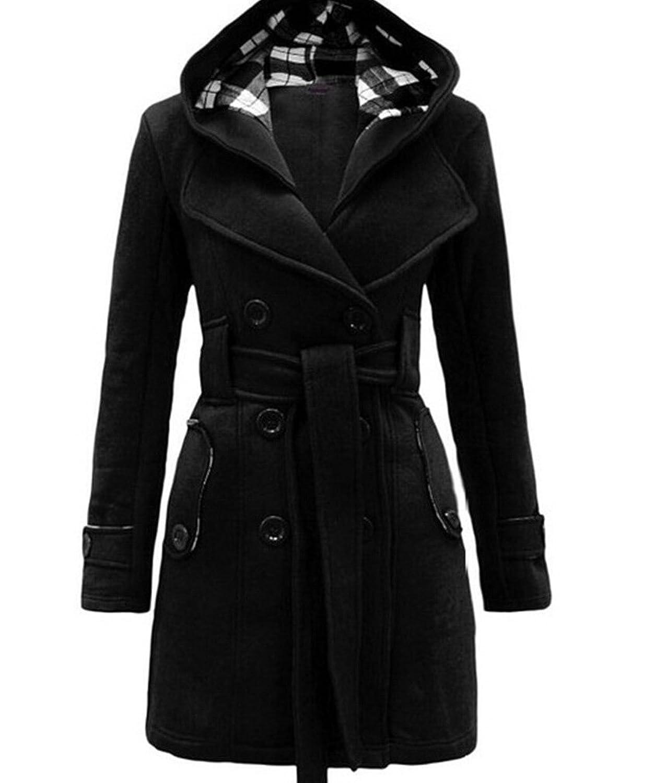Women Lapel Collar Hooded Double Breasted Belt Woolen Blend Long Pea Coat Jacket Overcoat Outwear