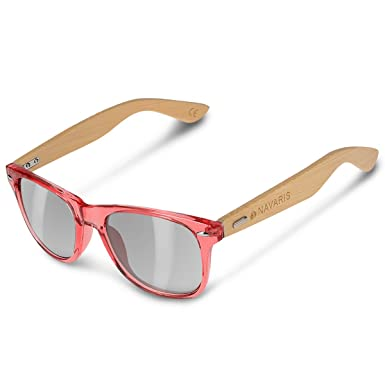 9ddcdace4a1 Navaris UV400 Bamboo Sunglasses - Unisex Retro Wooden Optics Glasses -  Classic Wood Shades Women Men - Eyewear with Case Polarized Lenses   Amazon.co.uk  ...