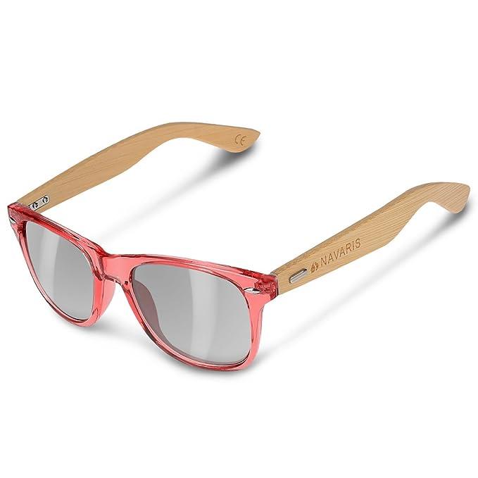 ac39124719 Navaris UV400 Bamboo Sunglasses - Unisex Retro Wooden Optics Glasses -  Classic Wood Shades Women Men - Eyewear with Case Polarized Lenses   Amazon.co.uk  ...
