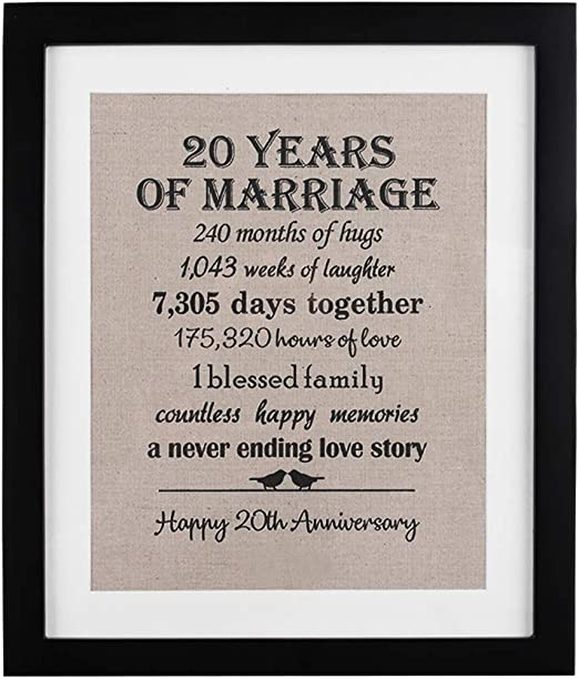 Amazon Com 20th Anniversary Love Birds Burlap Print With Frame 20 Year Wedding Anniversary Gifts 20th Anniversary Gifts For Couple 20th Anniversary Gift For Wife Kitchen Dining