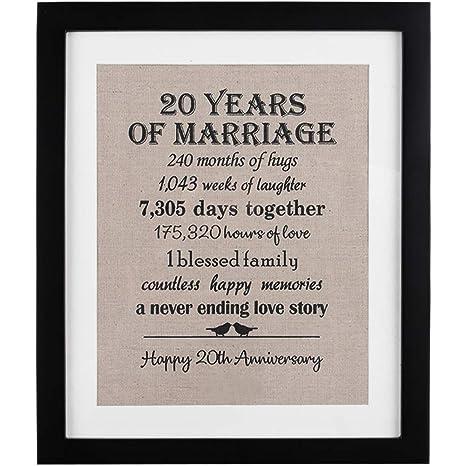 amazon com 20th anniversary love birds burlap print with frame 20